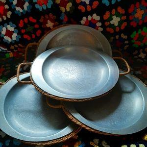 Vintage mcm ferralum aluminum plates with wicker